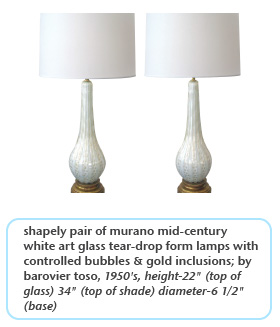 shapely pair of murano mid-century white art glass tear-drop form lamps with controlled bubbles & gold inclusions by barovier toso 1950s