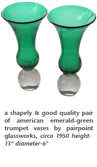 a shapely & good quality pair of american emerald-green trumpet vases by pairpoint glassworks, circa 1950