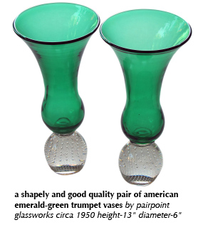a shapely and good quality pair of american emerald-green trumpet vases by pairpoint glassworks circa 1950