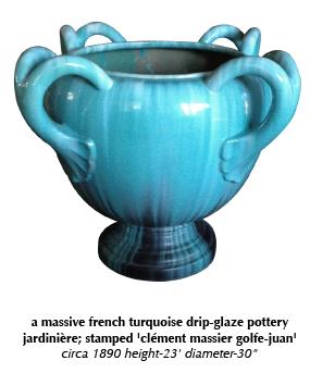 a massive french turquoise drip-glaze pottery jardinière; stamped 'clément massier golfe-juan'  circa 1890