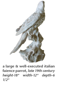 a large & well-executed italian faience parrot, late 19th century
