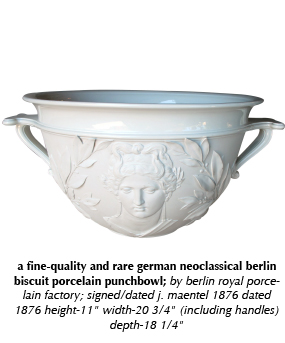 a fine-quality and rare german neoclassical berlin biscuit porcelain punchbowl; by berlin royal porcelain factory; signed/dated j. maentel 1876 dated 1876