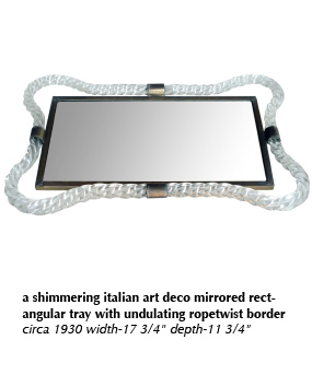 a shimmering italian art deco mirrored rectangular tray with undulating ropetwist border circa 1930