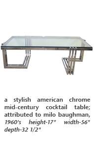 a stylish american chrome mid-century cocktail table; attributed to milo baughman, 1960's