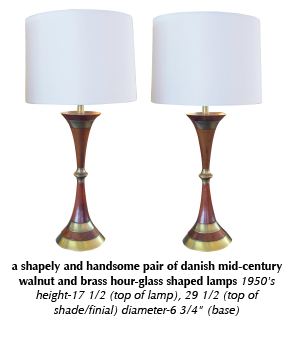 a shapely and handsome pair of danish mid-century walnut and brass hour-glass shaped lamps 1950's