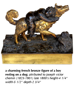a charming french bronze figure of a boy resting on a dog; attributed to joseph victor chemin (1825-1901) late 1800's