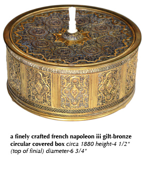 a finely crafted french napoleon iii gilt-bronze circular covered box circa 1880