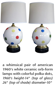 a whimsical pair of american 1960's white ceramic orb-form lamps with colorful polka dots, 1960's