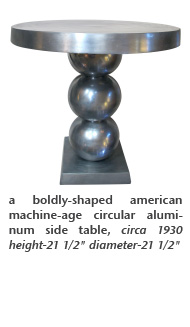 a boldly-shaped american machine-age circular aluminum side table, circa 1930