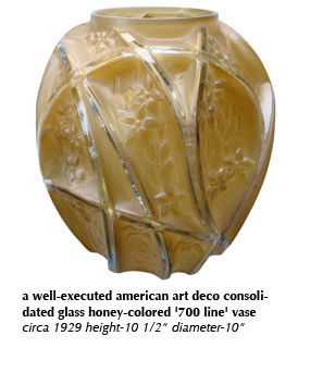 a well-executed american art deco consolidated glass honey-colored '700 line' vase circa 1929