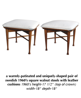 a warmly-patinated and uniquely-shaped pair of swedish 1960's square walnut stools with leather cushions 1960's