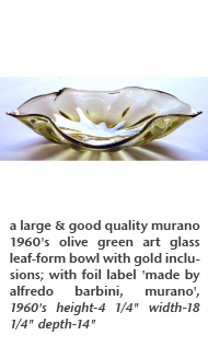 a large & good quality murano 1960's olive green art glass leaf-form bowl with gold inclusions; with foil label 'made by alfredo barbini, murano', 1960's