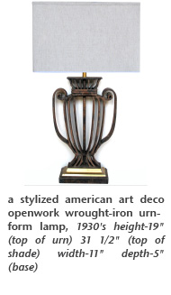 a stylized american art deco openwork wrought-iron urn-form lamp, 1930's