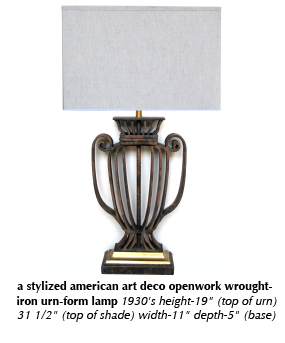 a stylized american art deco openwork wrought-iron urn-form lamp 1930's