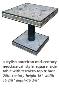 a stylish american mid-century neoclassical style square side table with terrazzo top & base, 20th century