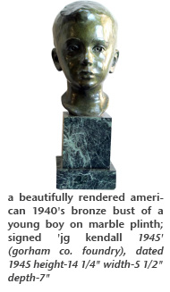 a beautifully rendered american 1940's bronze bust of a young boy on marble plinth; signed 'jg kendall 1945' (gorham co. foundry), dated 1945