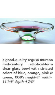 a good-quality seguso murano mid-century elliptical-form clear glass bowl with striated colors of blue, orange, pink & green, 1950's