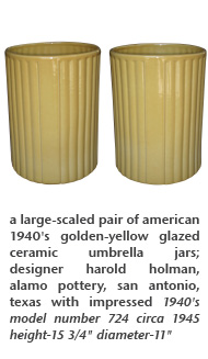 a large-scaled pair of american 1940's golden-yellow glazed ceramic umbrella jars; designer harold holman, alamo pottery, san antonio, texas with impressed 1940's model number 724 circa 1945