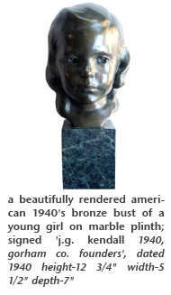 a beautifully rendered american 1940's bronze bust of a young girl on marble plinth; signed 'j.g. kendall 1940, gorham co. founders', dated 1940