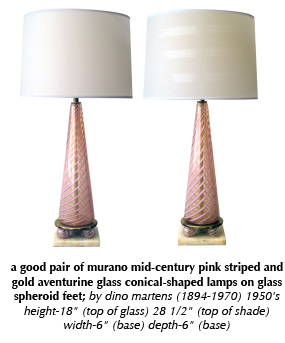 a good pair of murano mid-century pink striped and gold aventurine glass conical-shaped lamps on glass spheroid feet; by dino martens (1894-1970) 1950's