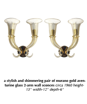 a stylish and shimmering pair of murano gold aventurine glass 2-arm wall sconces circa 1960