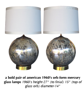 a bold pair of american 1960's orb-form mercury glass lamps 1960's
