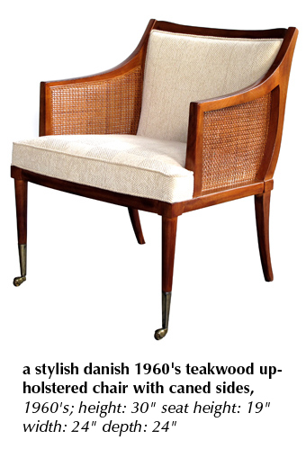a stylish danish 1960's teakwood upholstered chair with caned sides, 1960's