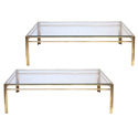 50004 pair of french 1970s rectangular solid brass coffee tables with glass tops
