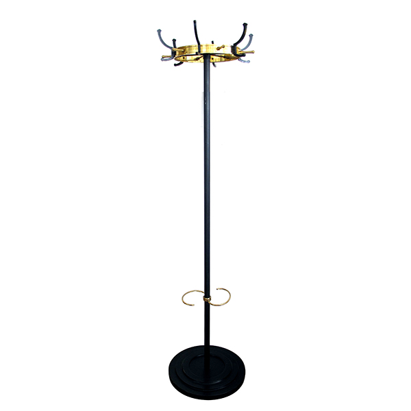 50060 a stylish and good quality mid-century jacques adnet gilt-bronze and black lacquered iron coat rack and umbrella stand mid-century