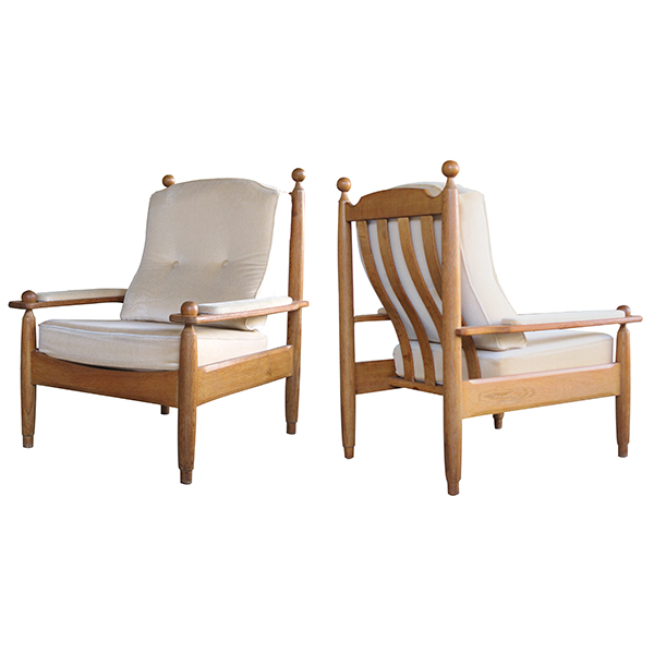 50007 a chic pair of french 1960's oak arm chairs designed by guillerme et chambron