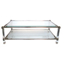 50006 french 1970s pierre vandel nickel glass and lucite rectangular coffee table