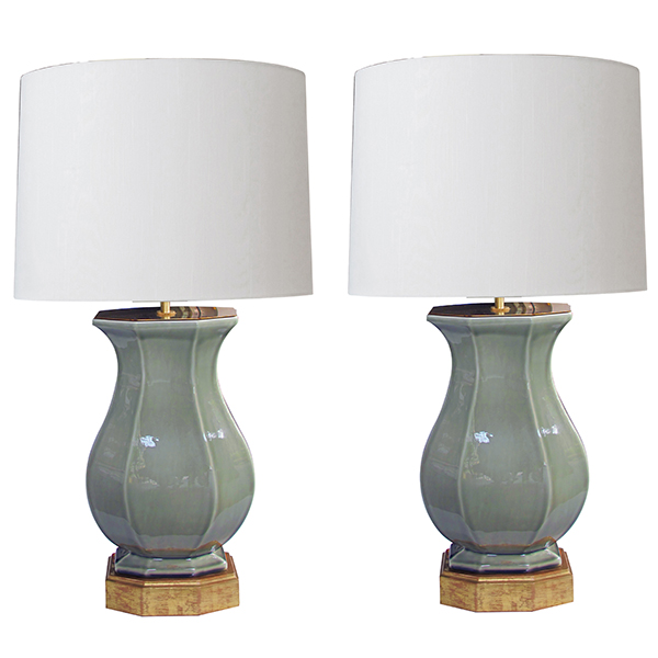 4338 a good quality pair of italian 1950's celadon glazed urn-form lamps by ceramiche zaccagnini, firenze 1950's