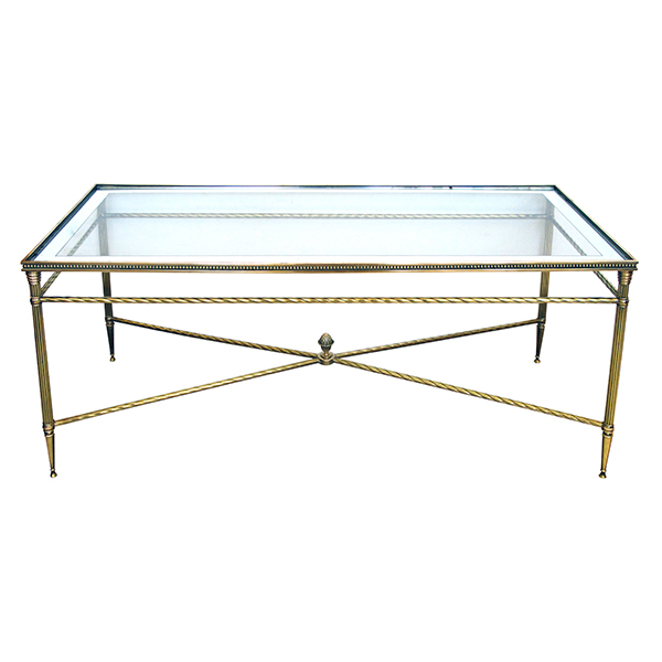 50084 a stylish and good quality french mid-century neoclassical style brass coffee/cocktail table with glass top with mirrored border 1950's