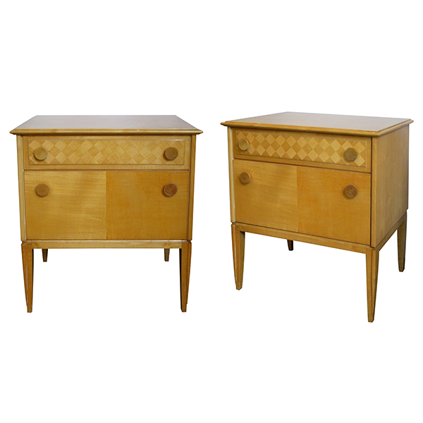 4146 a sleek and good quality pair of french 1960's sycamore 2-drawer bedside cabinets/commodes 1960's