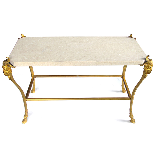 4324 a chic french maison bagues 1940's gilt-bronze cocktail table with fossilized stone top 1940's