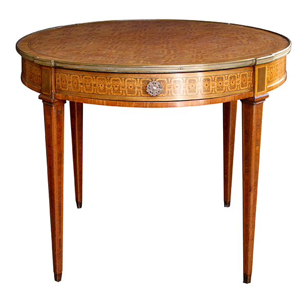 4341 an elegant and good quality french louis xvi style tiger mahogany and kingwood and marquetry inlaid circular bouillotte table circa 1880