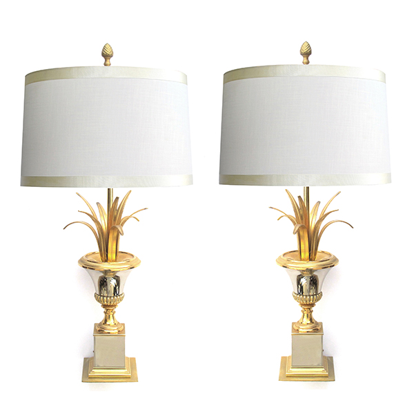 4315 a good pair of french 1960's maison charles two-tone brass and steel urn-form lamps 1960's