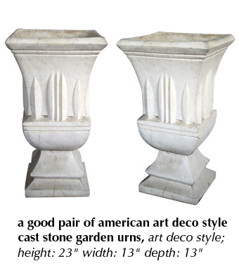 a good pair of american art deco style cast stone garden urns, art deco style