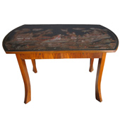 the Austrian table  an unusual austrian secessionist walnut veneered 2-drawer center table with chinoiserie top the rectangular top late 19th century