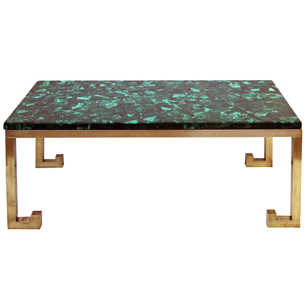 50024 a good quality italian 1970's brass table base with marquetry malachite top; designed by nucci valesecchi 1970's
