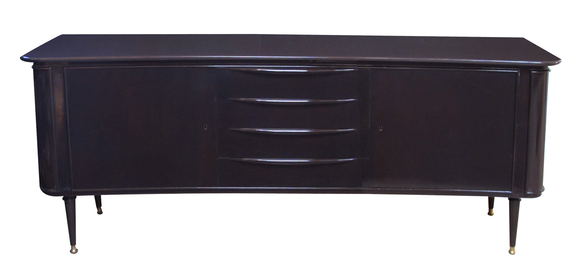 50039 - a sleek and stylish italian mid-century deep brown lacquered incurved sideboard 1950's;