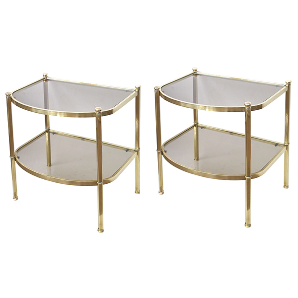 50041 a good quality pair of french 1970's brass and smoked glass bowfront side tables 1970's