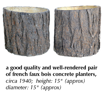 a good quality and well-rendered pair of french faux bois concrete planters, circa 1940