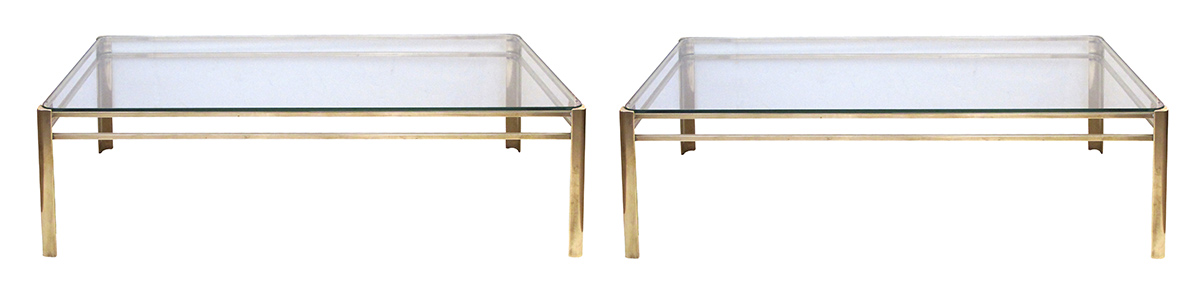 50004 a good pair of french 1970's rectangular solid brass coffee tables with glass tops by jacques quinet for broncz; signed 'broncz, reine de france'1970's