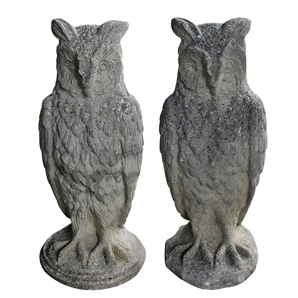 4353 a large and stoic pair of english cast stone owls early 20th century