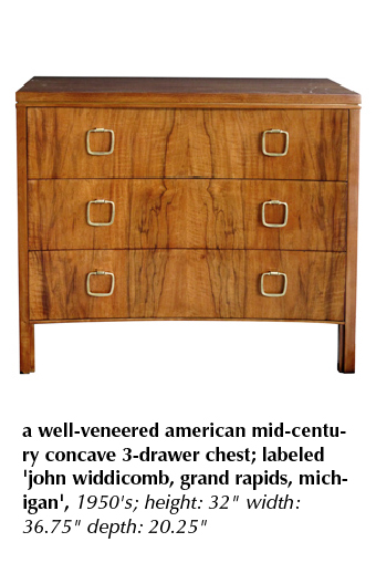 a well-veneered american mid-century concave 3-drawer chest; labeled 'john widdicomb, grand rapids, michigan', 1950's