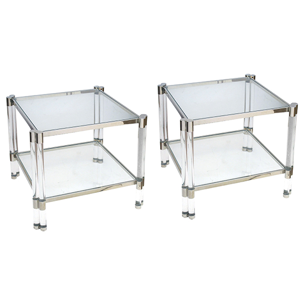 50028 a smart pair of french nickel plated, lucite and glass square side tables in the style of pierre vandel, paris 1970's
