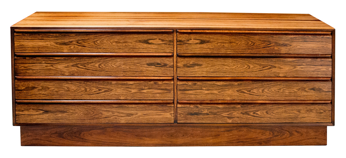 50082 - a sophisticated norwegian 1960's rosewood 8 drawer chest by westnofa of norway (labeled) circa 1960