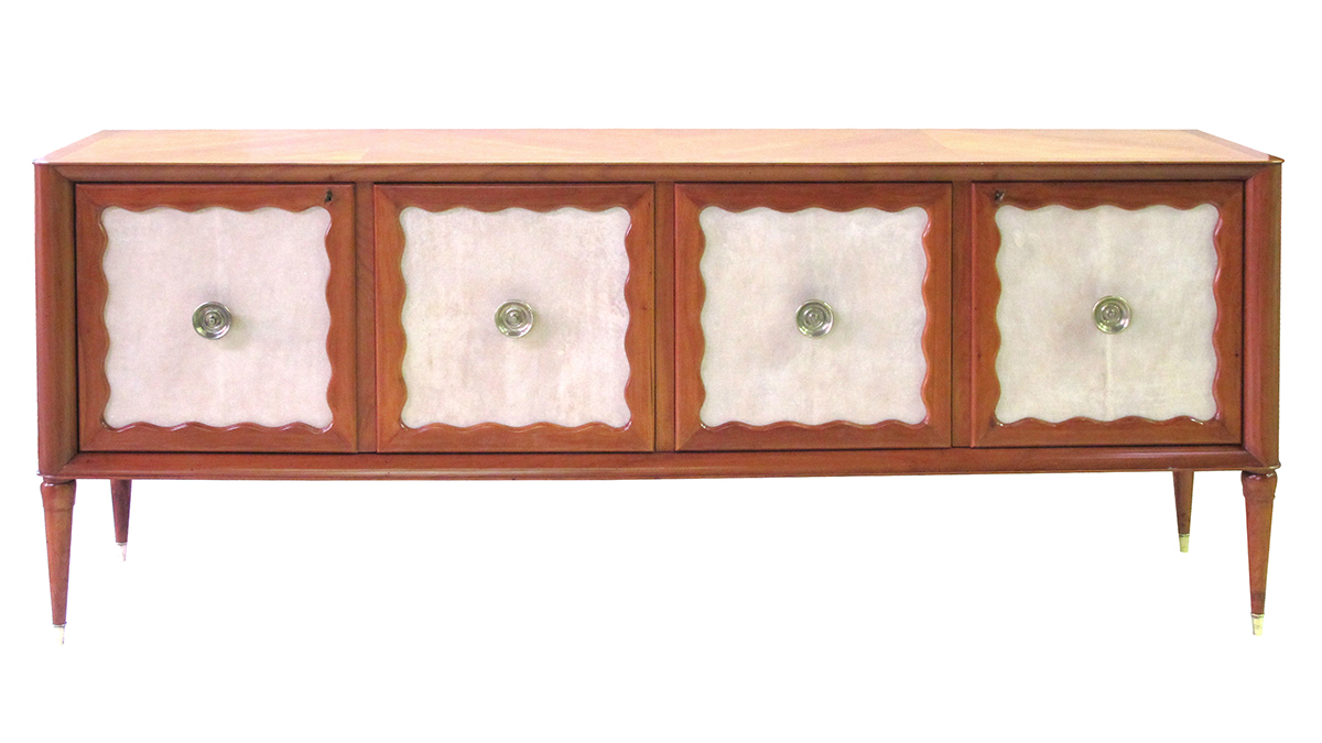 4387 a long and sleek italian paolo buffa mid-century cherrywood and parchment 4-door sideboard 1950's