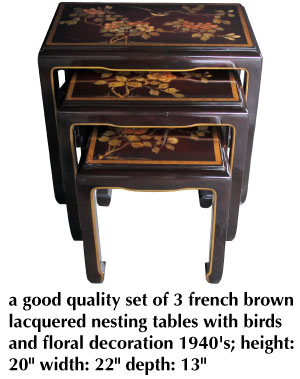 a good quality set of 3 french brown lacquered nesting tables with birds and floral decoration 1940's